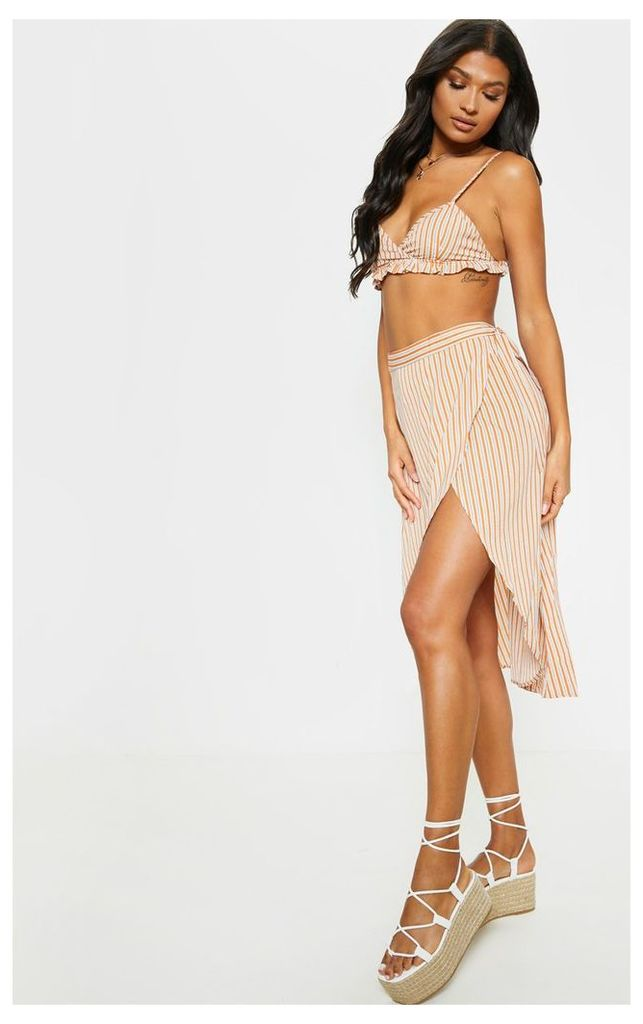 Multi Contrast Stripe Wrap Tie Detail Midi Skirt, Multi