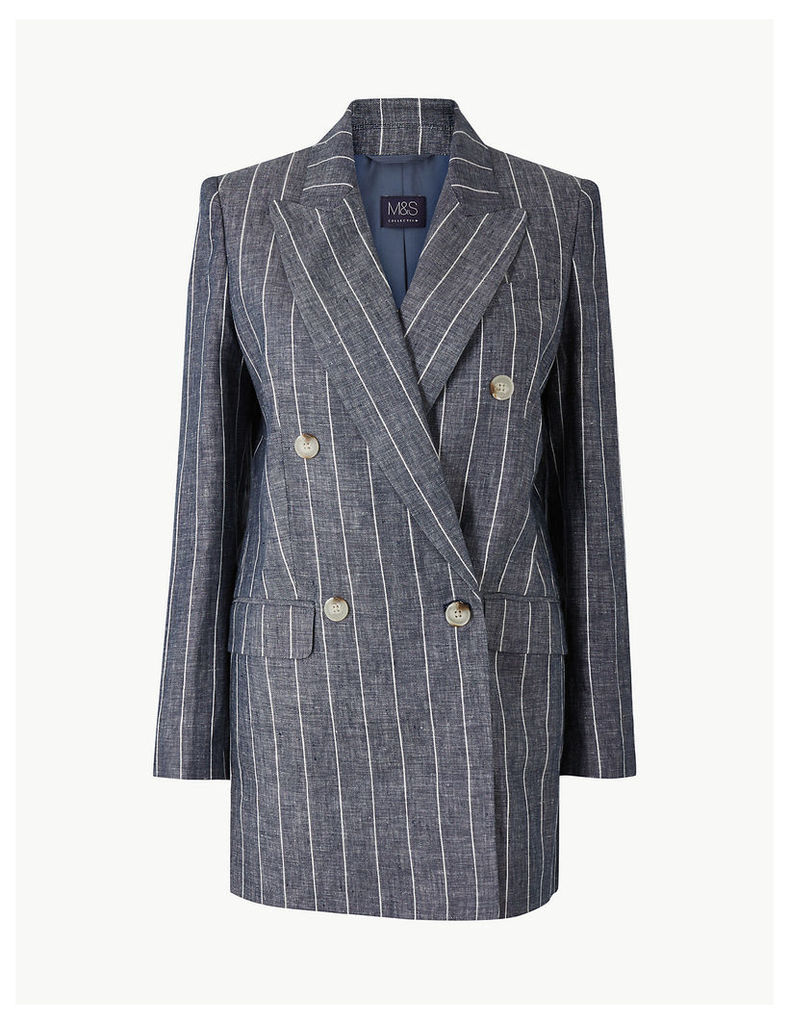 M&S Collection Pure Linen Oversized Striped Blazer