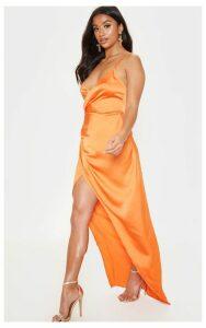 Petite Orange Satin Wrap Detail Maxi Dress, Orange