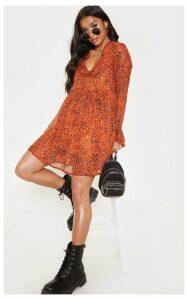 Petite Orange Leopard Print Smock Dress, Orange