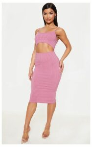 Rose Ribbed Cut Out Strappy Midi Dress, Pink