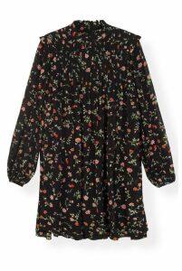 Ganni Printed Georgette Mini Dress Black