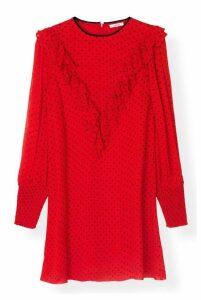 Ganni Printed Georgette Mini Dress Fiery Red