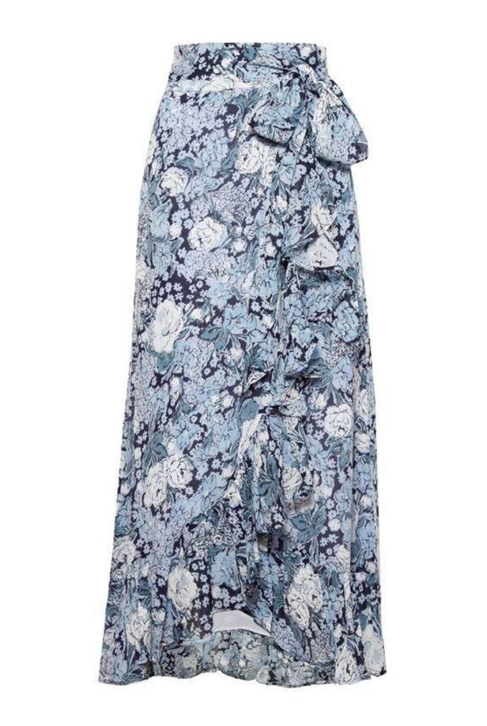 Ganni Printed Georgette Wrap Skirt