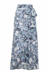 Ganni Printed Georgette Wrap Skirt