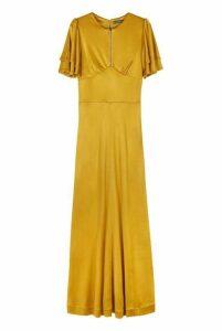 Alexa Chung Zip Detail Long Jersey Dress In Yellow