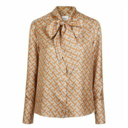 Burberry Monogram Printed Pussy Bow Blouse