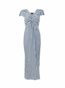 Womens **Blue Twist Front Stripe Print Maxi Dress- Blue, Blue