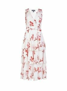 Womens Floral Print Tiered Midi Dress- Pink, Pink