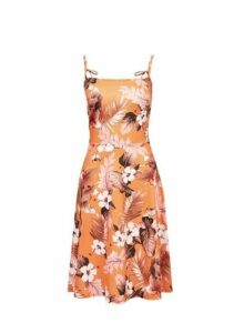 Womens **Tall Orange Tropical Print Camisole Dress- Orange, Orange