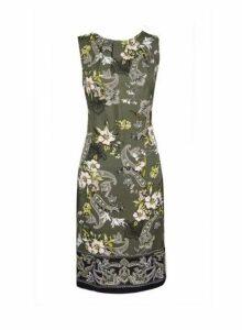 Womens **Tall Khaki Paisley Print Shift Dress- Khaki, Khaki