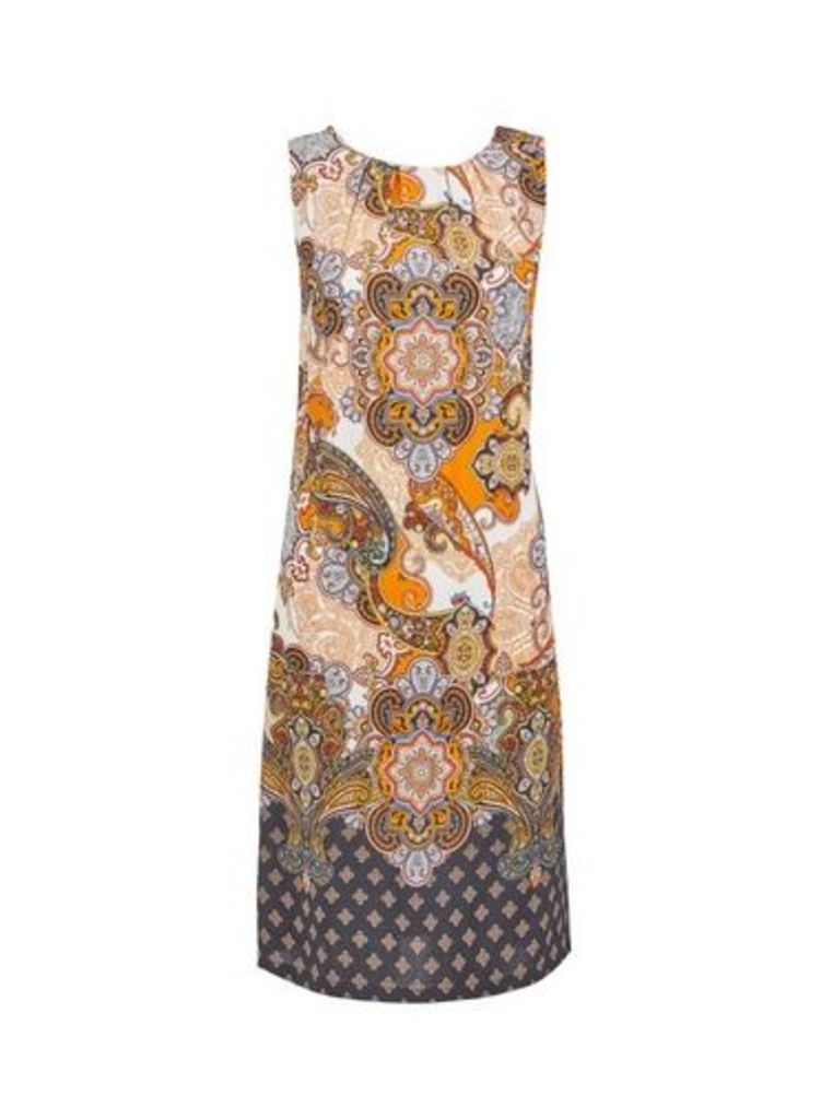 Womens **Tall Orange Paisley Print Shift Dress- Orange, Orange
