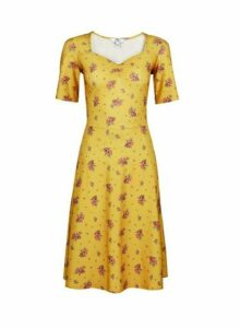 Womens **Tall Yellow Ditsy Print Fit And Flare Dress- Yellow, Yellow