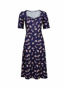 Womens **Tall Navy Ditsy Print Dress- Blue, Blue