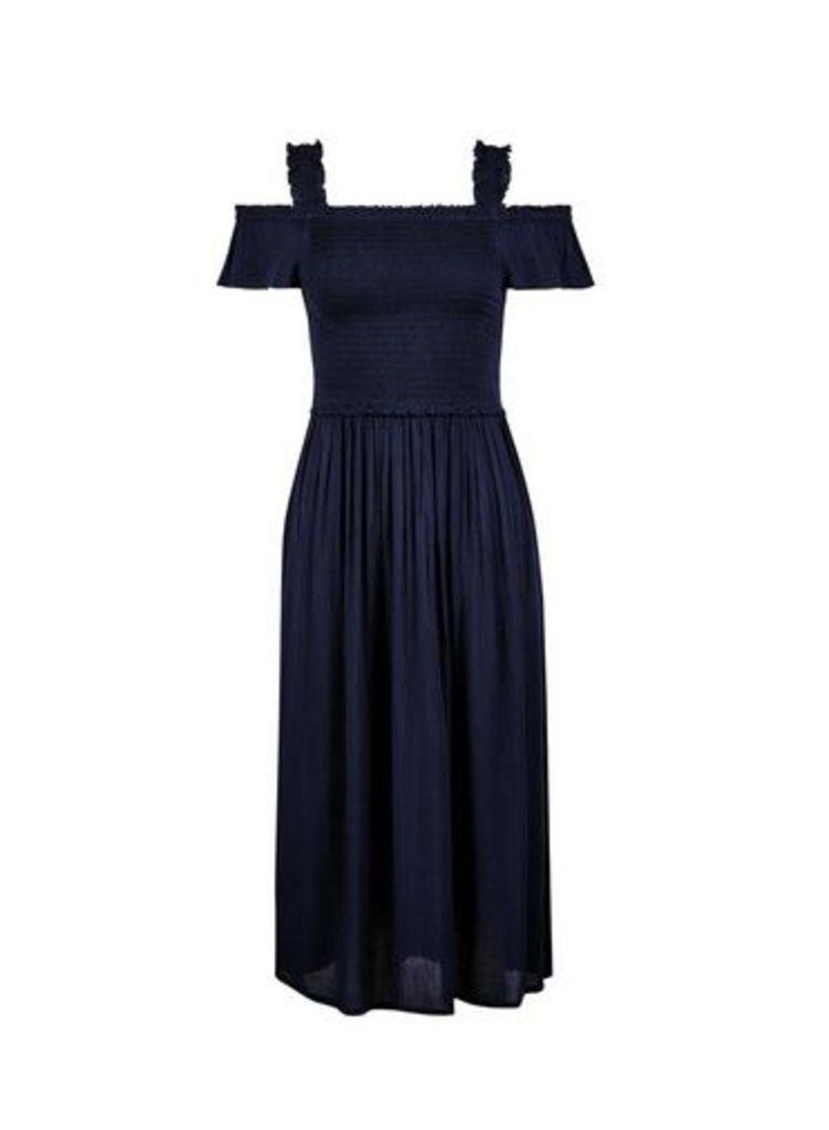 Womens Navy Plain Cold Shoulder Shirred Dress- Blue, Blue