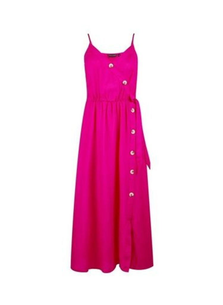 Womens Pink Camisole Dress With Linen- Pink, Pink