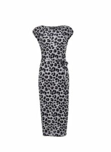 Womens **Grey Leopard Print Plisse Midi Dress- Animal, Animal