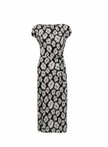 Womens **Black Floral Print Plisse Midi Dress- Black, Black
