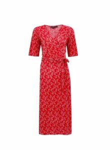 Womens **Red Ditsy Print Plisse Midi Dress- Red, Red