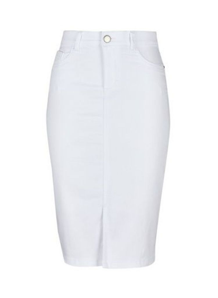 Womens White Denim Midi Skirt- White, White