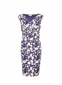 Womens **Lily & Franc Navy Floral Print Bodycon Dress- Blue, Blue