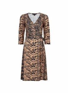 Womens **Tall Brown Tiger Print Wrap Dress- Brown, Brown