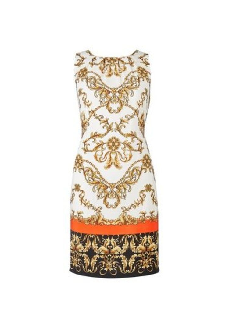Womens Cream Chain Printed Sleeveless Shift Dress- Cream, Cream