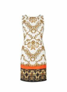 Womens Chain Printed Sleeveless Shift Dress- Cream, Cream