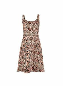 Womens Multi Colour Tiger Print Seamed Sleeveless Fit And Flare Dress- Pink, Pink
