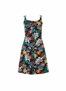Womens Black Tropical Print Button Camisole Dress- Black, Black