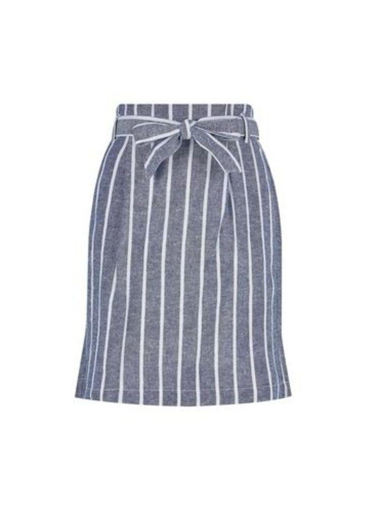 Womens Blue Stripe Print Linen Blend Skirt- Blue, Blue