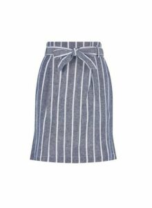 Womens Blue Stripe Print Linen Blend Skirt- Blue, Blue