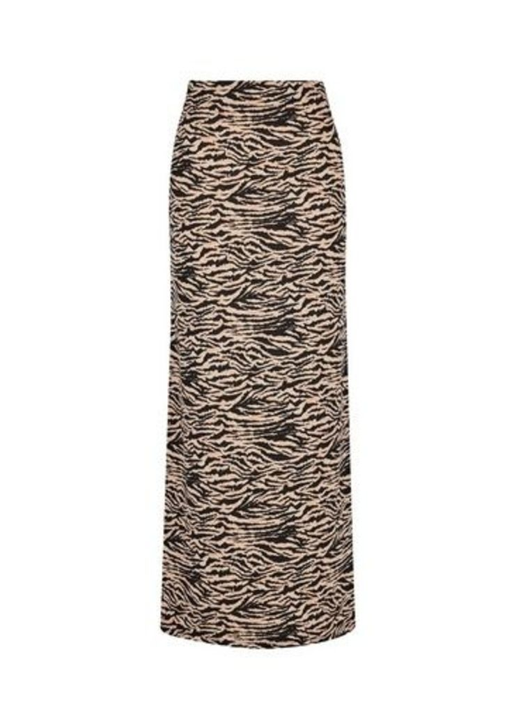 Womens Neutral Zig Zag Print Maxi Skirt- Brown, Brown