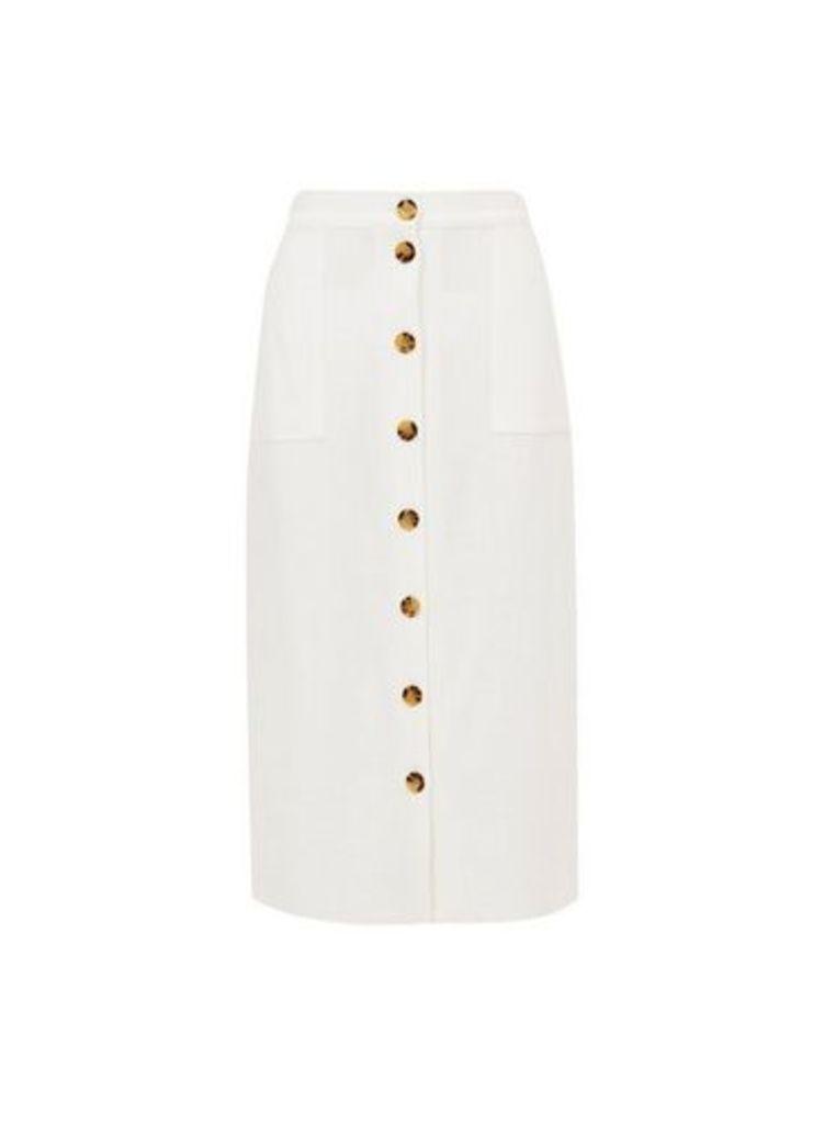 Womens White Button Midi Skirt With Linen- White, White