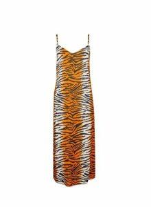 Womens Orange Tiger Print Slip Dress- Orange, Orange