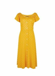 Womens Yellow Spot Print Bardot Midi Dress, Yellow