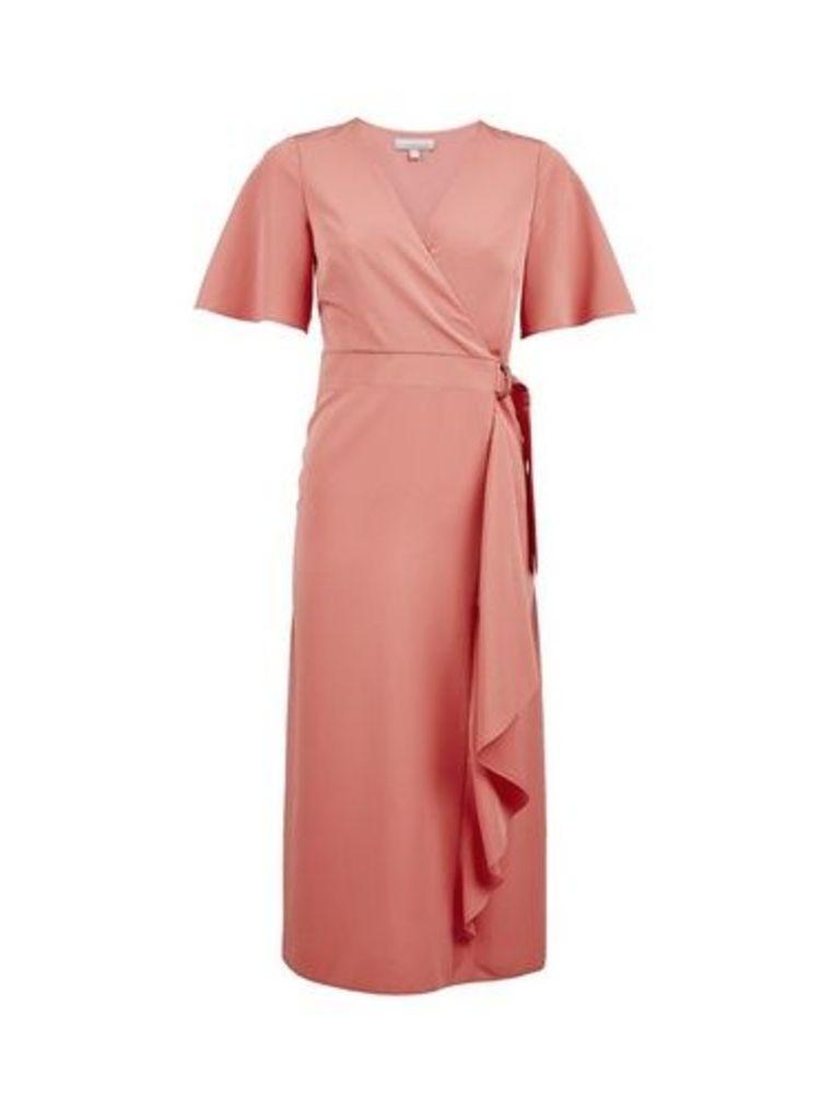 Womens Petite Rose Wrap Midi Dress- Pink, Pink