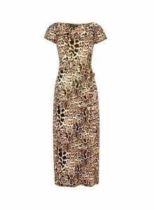 Womens Multi Coloured Leopard Print Ruched Sleeve Midi Dress- Brown, Brown