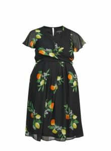 Womens **Billie & Blossom Curve Black Lemon Print Skater Dress- Black, Black