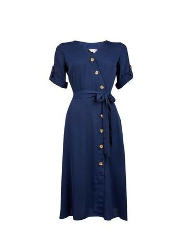 Womens **Lily & Franc Navy Button Wrap Dress- Blue, Blue