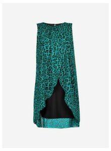 Womens **Billie & Blossom Teal Animal Print Trapeze Dress- Blue, Blue