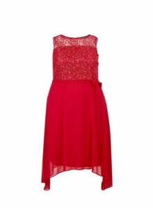 Womens **Billie & Blossom Curve Coral Lace Skater Dress- Coral, Coral