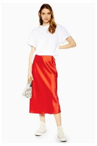 Womens Red Satin Bias Midi Skirt - Red, Red