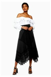 Womens Mixed Broderie Midi Skirt - Black, Black