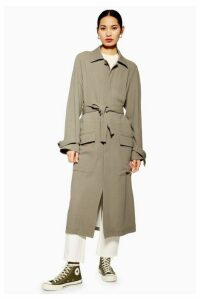 Womens **Wool Blend Duster Coat By Boutique - Beige, Beige