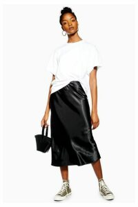 Womens Black Satin Bias Midi Skirt - Black, Black