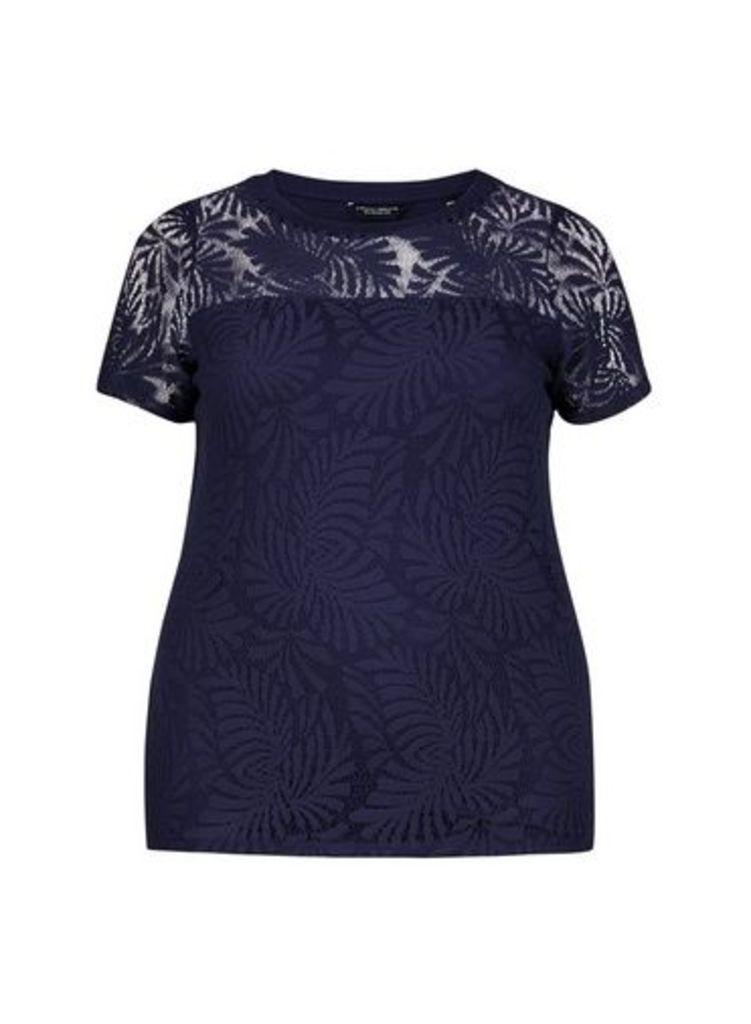 Womens **Dp Curve Navy Palm Lace Top- Blue, Blue