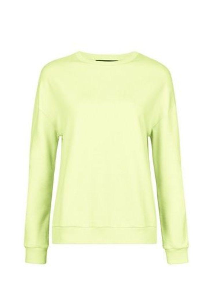 Womens Chartreuse Neon Sweatshirt- Yellow, Yellow
