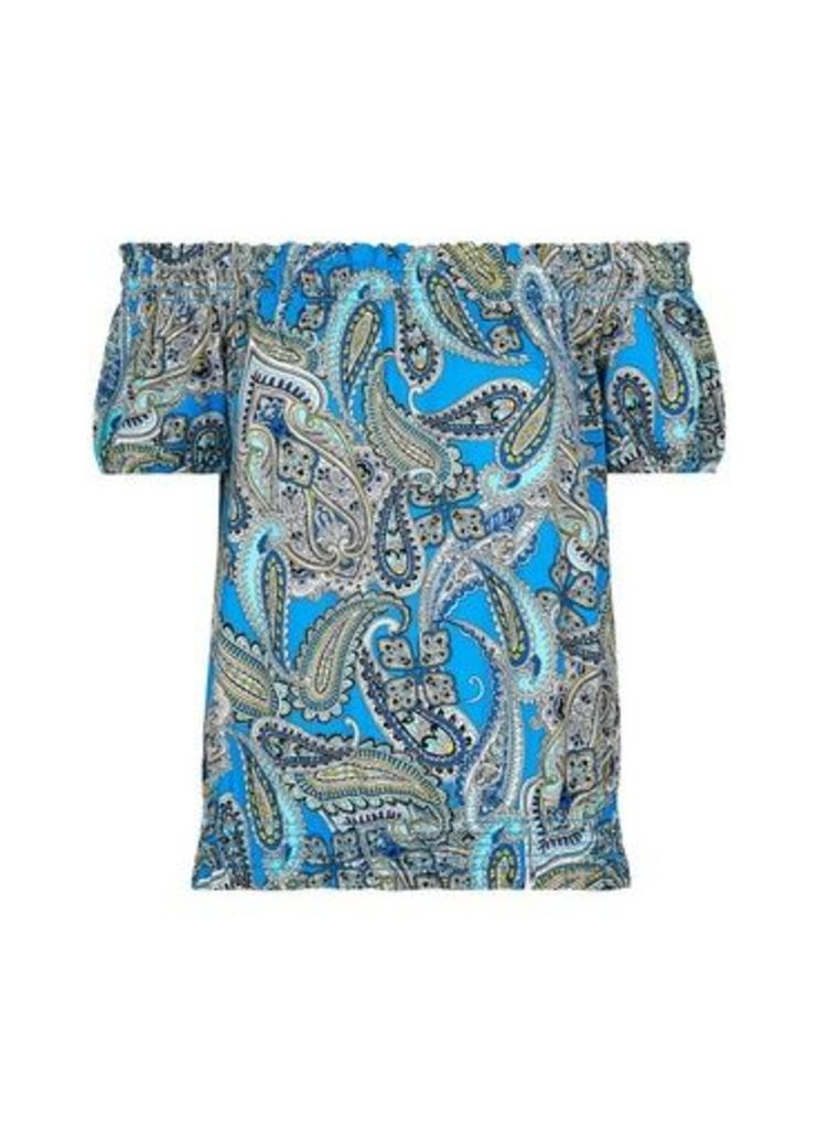 Womens Blue Paisley Print Bardot Top- Blue, Blue