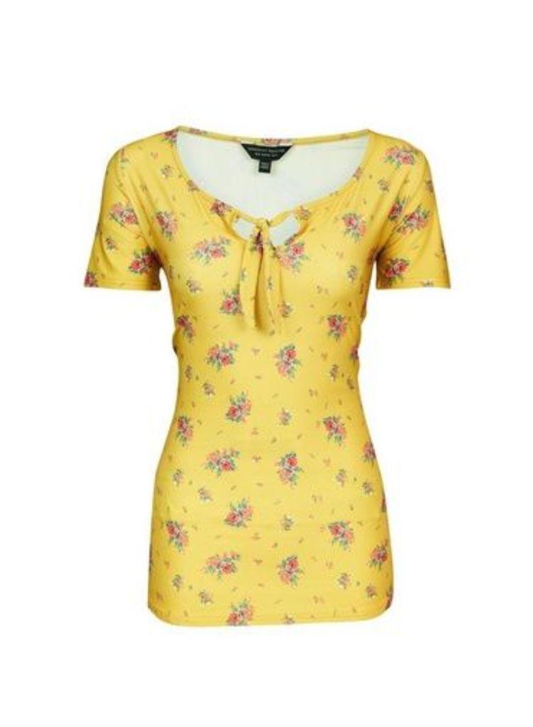 Womens **Tall Yellow Ditsy Print Tie Top- Orange, Orange